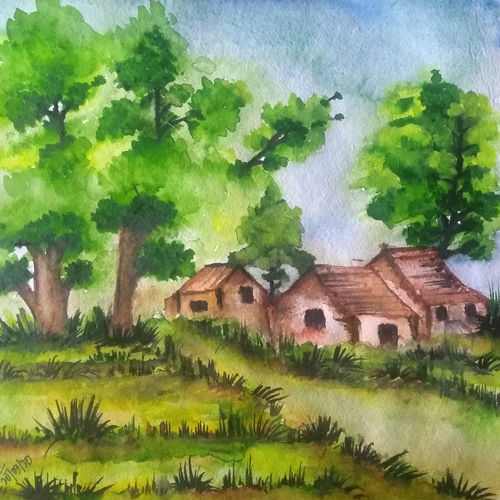 village , 10 x 10 inch, arunava chakravarty,10x10inch,thick paper,nature paintings | scenery paintings,paintings for dining room,paintings for dining room,watercolor,GAL02549736924