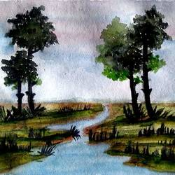 beauty of nature , 8 x 7 inch, arunava chakravarty,8x7inch,thick paper,nature paintings | scenery paintings,paintings for bathroom,paintings for bathroom,watercolor,GAL02549736925