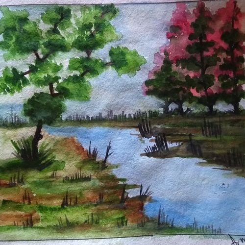 beatuful nature , 9 x 8 inch, arunava chakravarty,9x8inch,thick paper,nature paintings | scenery paintings,watercolor,GAL02549736926