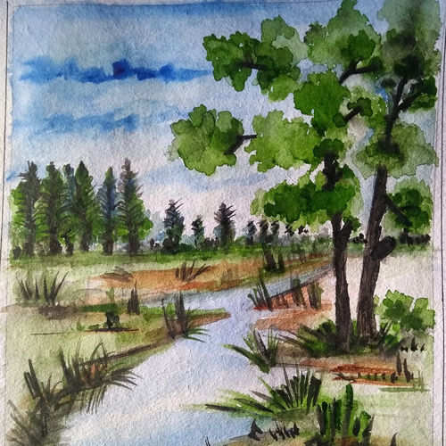 nature calling , 7 x 8 inch, arunava chakravarty,7x8inch,thick paper,paintings,nature paintings | scenery paintings,paintings for bedroom,watercolor,GAL02549736928