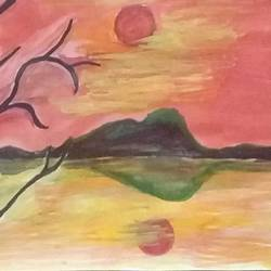 evening nature, 9 x 11 inch, mrs. kalyani lahon,paintings for living room,nature paintings,paper,poster color,9x11inch,GAL06573693Nature,environment,Beauty,scenery,greenery,trees,water,beautiful,sunset
