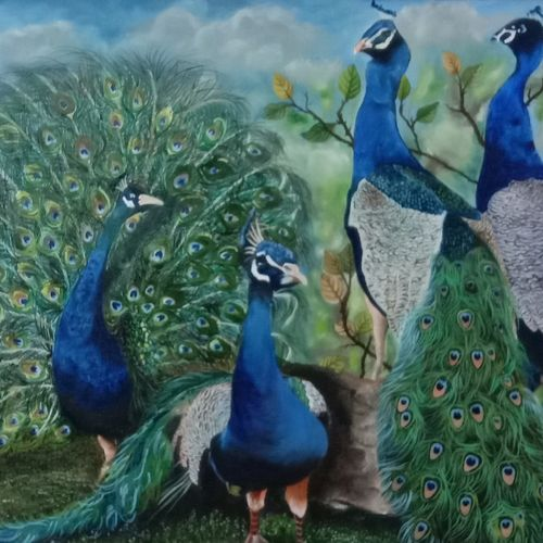mayur painting, 31 x 22 inch, ila  singh,31x22inch,canvas,paintings,wildlife paintings,figurative paintings,landscape paintings,conceptual paintings,nature paintings | scenery paintings,expressionism paintings,illustration paintings,impressionist paintings,minimalist paintings,photorealism,realism paintings,surrealism paintings,animal paintings,realistic paintings,love paintings,children paintings,kids paintings,paintings for dining room,paintings for living room,paintings for bedroom,paintings for office,paintings for kids room,paintings for hotel,paintings for school,paintings for hospital,oil color,GAL0795936930
