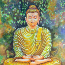 buddha, 18 x 24 inch, meera mohan,18x24inch,ivory sheet,paintings,buddha paintings,paintings for dining room,paintings for living room,paintings for office,paintings for hotel,paintings for school,paintings for hospital,pastel color,GAL02551136932