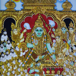 ram' s coronation , 22 x 28 inch, meera mohan,22x28inch,hardboard,paintings,figurative paintings,religious paintings,tanjore paintings,paintings for living room,paintings for office,paintings for hotel,paintings for hospital,fabric,mixed media,poster color,wood,GAL02551136935