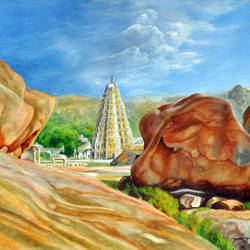 hampi, 18 x 15 inch, meera mohan,18x15inch,fabriano sheet,paintings,landscape paintings,nature paintings | scenery paintings,illustration paintings,paintings for dining room,paintings for living room,paintings for bedroom,paintings for hotel,paintings for school,paintings for hospital,watercolor,wood,paper,GAL02551136937