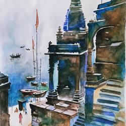 varanasi, 12 x 17 inch, meera mohan,12x17inch,fabriano sheet,paintings,cityscape paintings,religious paintings,paintings for dining room,paintings for living room,paintings for office,paintings for hotel,paintings for school,paintings for hospital,watercolor,paper,GAL02551136940