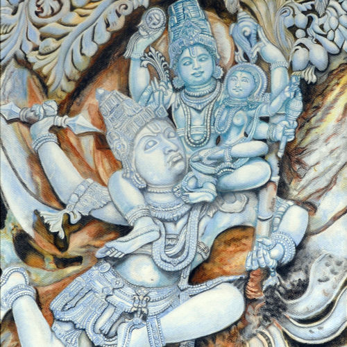 garuda , 28 x 36 inch, meera mohan,28x36inch,fabriano sheet,paintings,figurative paintings,religious paintings,paintings for living room,paintings for office,paintings for hotel,paintings for hospital,oil color,paper,GAL02551136941
