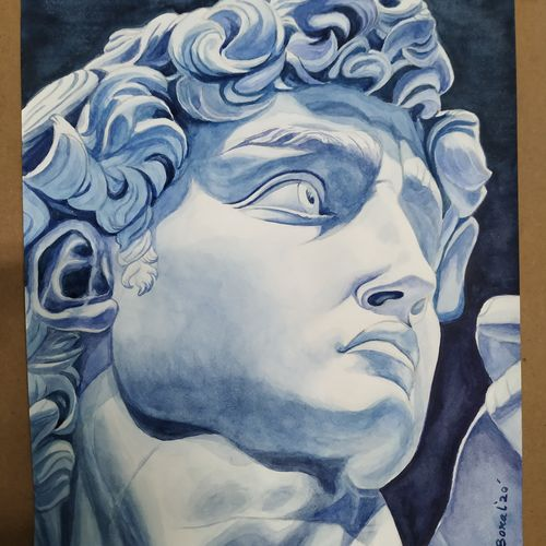 michael angelo's david, 12 x 17 inch, subrata boral,12x17inch,brustro watercolor paper,paintings,photorealism,paintings for dining room,paintings for living room,paintings for bedroom,paintings for office,paintings for hotel,paintings for school,watercolor,GAL02302336943