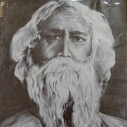 tagore potrait (pen sketch), 8 x 12 inch, sanchari sarkar,8x12inch,paper,drawings,portrait drawings,paintings for living room,paintings for hotel,ball point pen,GAL02552936944