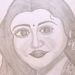 wome pencil drawing, 8 x 12 inch, dhivya parthiban,8x12inch,paper,drawings,portrait drawings,pencil color,paper,GAL02183436955