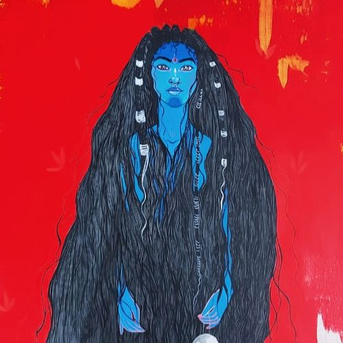 unfiltered kali, 36 x 48 inch, ananya chatterjee,36x48inch,canvas,paintings,figurative paintings,paintings for dining room,paintings for living room,paintings for office,paintings for hotel,acrylic color,GAL02554136956