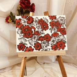 floral illustration, 12 x 16 inch, fitha fathima,12x16inch,thick paper,flower paintings,acrylic color,ink color,pen color,GAL02554336960