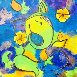 floral ganesh abstract, 18 x 24 inch, pragati chitravanshi,18x24inch,canvas,abstract paintings,figurative paintings,religious paintings,ganesha paintings | lord ganesh paintings,paintings for living room,paintings for office,paintings for hotel,paintings for school,paintings for hospital,paintings for living room,paintings for office,paintings for hotel,paintings for school,paintings for hospital,acrylic color,GAL02554636961