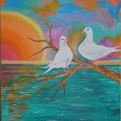 dove love pair , 18 x 24 inch, pragati chitravanshi,18x24inch,canvas,paintings,wildlife paintings,landscape paintings,nature paintings | scenery paintings,expressionism paintings,love paintings,paintings for living room,paintings for bedroom,paintings for hotel,acrylic color,GAL02554636962