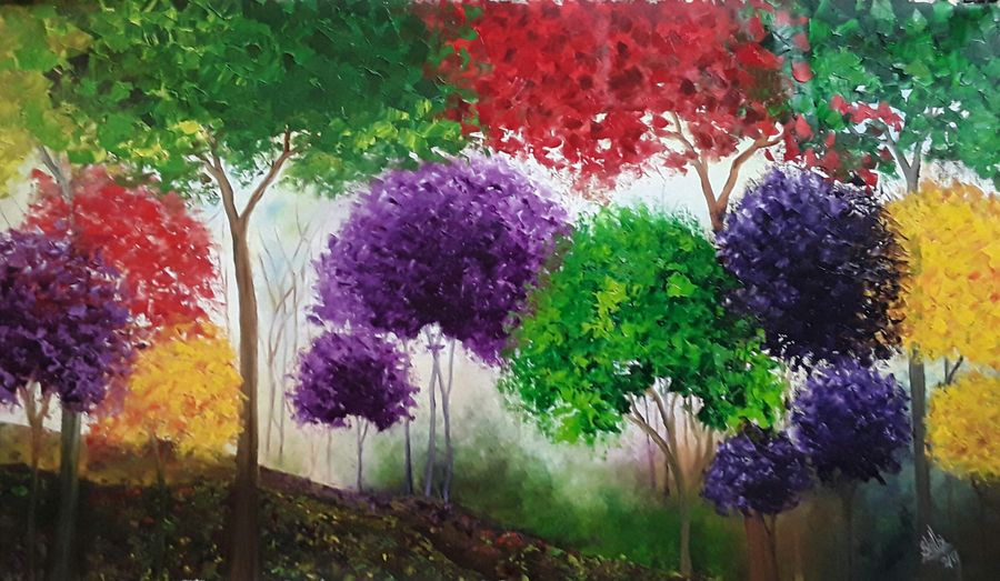 rainbow jungle, 37 x 21 inch, shilpi singh patel,nature paintings,paintings for living room,paintings,canvas,oil,37x21inch,GAL04553697Nature,environment,Beauty,scenery,greenery