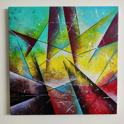 geometric abstract wall hanging, 20 x 20 inch, mohit kumar,20x20inch,canvas,paintings,abstract paintings,folk art paintings,modern art paintings,multi piece paintings,conceptual paintings,abstract expressionism paintings,expressionism paintings,impressionist paintings,contemporary paintings,paintings for dining room,paintings for living room,paintings for bedroom,paintings for office,paintings for kids room,paintings for hotel,paintings for school,acrylic color,GAL02360336978