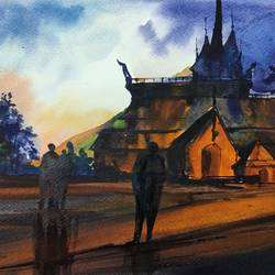 old village church, 12 x 8 inch, shankhadeep  mondal,12x8inch,brustro watercolor paper,paintings,landscape paintings,nature paintings | scenery paintings,paintings for dining room,paintings for living room,paintings for bedroom,paintings for office,paintings for bathroom,paintings for kids room,paintings for hotel,paintings for kitchen,paintings for school,paintings for hospital,watercolor,GAL01403036979
