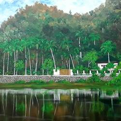 somewhere in kerala, 30 x 20 inch, shilpi singh patel,landscape paintings,paintings for office,paintings,canvas,acrylic color,30x20inch,GAL04553698