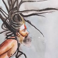 sadhu, 12 x 21 inch, aruna sharma,12x21inch,brustro watercolor paper,paintings,abstract paintings,buddha paintings,figurative paintings,folk art paintings,modern art paintings,conceptual paintings,religious paintings,portrait paintings,art deco paintings,realism paintings,contemporary paintings,lord shiva paintings,paintings for dining room,paintings for living room,paintings for bedroom,paintings for office,paintings for bathroom,paintings for kids room,paintings for hotel,paintings for kitchen,paintings for school,paintings for hospital,watercolor,GAL01442336981