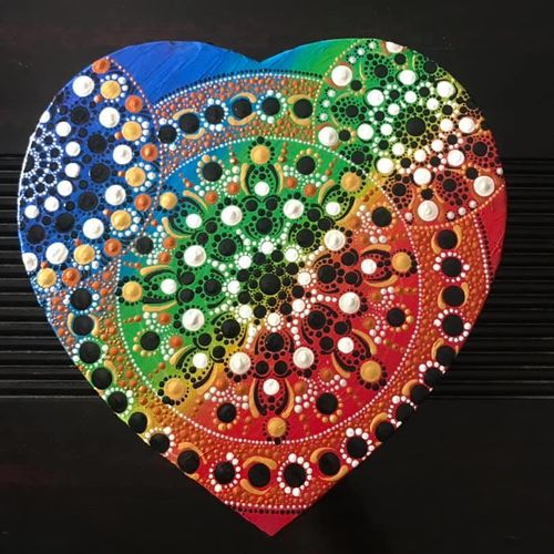 dot painting mandala - heart shape rainbow - embossed look, 12 x 11 inch, priya menon,12x11inch,canvas,paintings,abstract paintings,modern art paintings,art deco paintings,expressionism paintings,paintings for dining room,paintings for living room,paintings for bedroom,paintings for office,paintings for hotel,paintings for kitchen,paintings for school,acrylic color,GAL02555236986