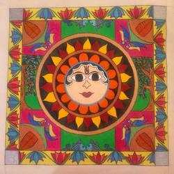 madhubani sun painting with bright colours and border, 18 x 17 inch, priya menon,18x17inch,canvas,paintings,madhubani paintings | madhubani art,paintings for dining room,paintings for living room,paintings for bedroom,paintings for office,paintings for hotel,paintings for kitchen,paintings for school,paintings for hospital,acrylic color,fabric,GAL02555236987