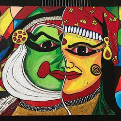 kathakali canvas painting - male and female contrast, 16 x 12 inch, priya menon,16x12inch,canvas,paintings,art deco paintings,kerala murals painting,paintings for dining room,paintings for living room,paintings for bedroom,paintings for office,paintings for hotel,paintings for kitchen,paintings for school,paintings for hospital,acrylic color,GAL02555236988