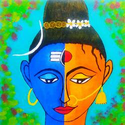 shiva shakti, 12 x 12 inch, arpita kabiraj,12x12inch,canvas,religious paintings,lord shiva paintings,paintings for living room,paintings for living room,acrylic color,GAL02556836992