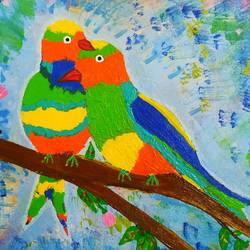 love bird, 12 x 10 inch, arpita kabiraj,12x10inch,canvas,animal paintings,paintings for dining room,paintings for living room,paintings for bedroom,paintings for hotel,paintings for dining room,paintings for living room,paintings for bedroom,paintings for hotel,acrylic color,GAL02556836993