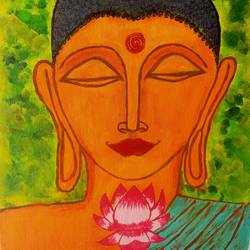 shanti buddha, 12 x 16 inch, arpita kabiraj,12x16inch,canvas,paintings,buddha paintings,paintings for dining room,paintings for living room,paintings for bedroom,paintings for office,paintings for hospital,acrylic color,GAL02556836994