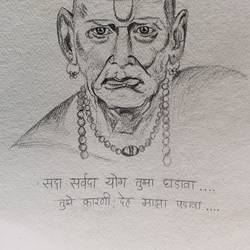 shree swami samarth, 29 x 42 inch, amruta kothawale,29x42inch,handmade paper,drawings,expressionism drawings,figurative drawings,portrait drawings,charcoal,paper,GAL01314936995