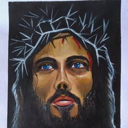 crucifixion 2, 16 x 18 inch, lin taji,16x18inch,thick paper,figurative paintings,religious paintings,portrait paintings,photorealism paintings,portraiture,realistic paintings,acrylic color,paper,GAL02190036998