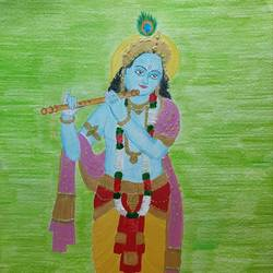 krishna painting, 11 x 16 inch, geethanjali krishna,11x16inch,cartridge paper,paintings,religious paintings,paintings for living room,mixed media,paper,GAL02511437001