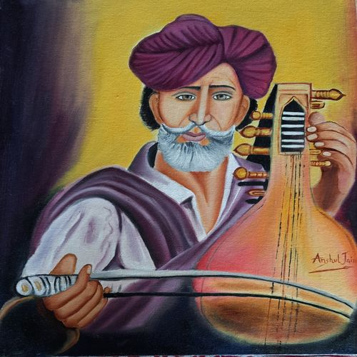 soul of rajsthani folk culture, 14 x 18 inch, anshul jain,14x18inch,canvas board,paintings,portrait paintings,paintings for dining room,paintings for living room,paintings for bedroom,paintings for office,paintings for hotel,paintings for school,paintings for hospital,abstract drawings,oil color,GAL02558837005