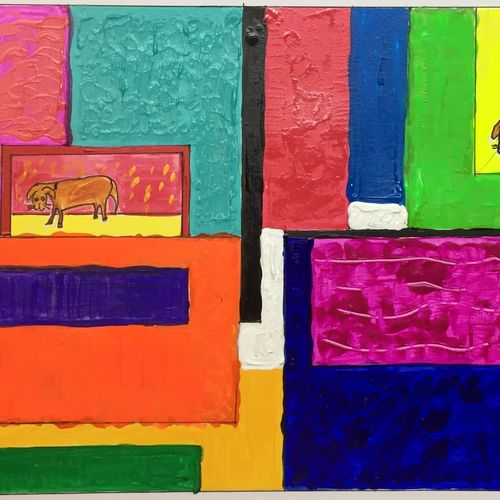 pet lover, 8 x 13 inch, anjali mewada,8x13inch,thick paper,abstract paintings,acrylic color,paper,GAL02545537011