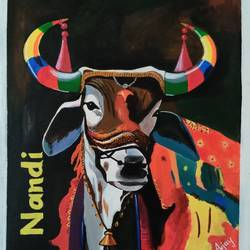 nandi, 21 x 24 inch, ajay kanawade,21x24inch,canvas,paintings,religious paintings,animal paintings,paintings for dining room,paintings for living room,paintings for bedroom,paintings for office,paintings for kids room,paintings for hotel,paintings for school,paintings for hospital,acrylic color,GAL02468937012
