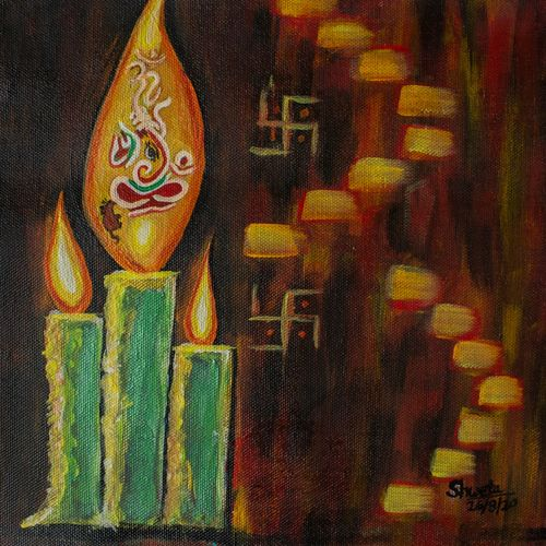 candle on canvas painting, 11 x 11 inch, shweta maurya,11x11inch,canvas,paintings,abstract paintings,landscape paintings,modern art paintings,ganesha paintings | lord ganesh paintings,paintings for dining room,paintings for living room,paintings for bedroom,paintings for kids room,paintings for dining room,paintings for living room,paintings for bedroom,paintings for kids room,acrylic color,GAL02548037014