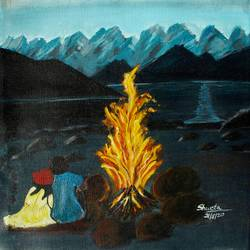nature painting on canvas, 12 x 11 inch, shweta maurya,12x11inch,canvas,paintings,abstract paintings,wildlife paintings,landscape paintings,modern art paintings,religious paintings,nature paintings | scenery paintings,realistic paintings,love paintings,paintings for living room,paintings for bedroom,paintings for office,paintings for kids room,paintings for hotel,acrylic color,GAL02548037021