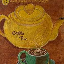 coffee time, 10 x 11 inch, shweta maurya,10x11inch,canvas,paintings,realistic paintings,paintings for kids room,paintings for kitchen,acrylic color,GAL02548037022