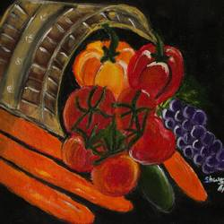 vegetable and fruit with basket, 11 x 12 inch, shweta maurya,11x12inch,canvas,paintings,abstract paintings,love paintings,paintings for kids room,paintings for kitchen,acrylic color,GAL02548037025