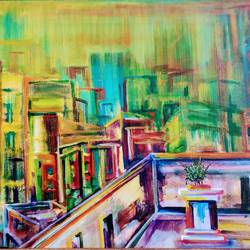 city from the roof, 27 x 20 inch, sushmita banerjee,27x20inch,canvas,paintings,abstract paintings,cityscape paintings,acrylic color,GAL02461937037