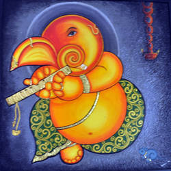 ganesh, 34 x 34 inch, meera mohan,34x34inch,canvas,paintings,abstract paintings,figurative paintings,ganesha paintings | lord ganesh paintings,paintings for dining room,paintings for living room,paintings for bedroom,paintings for kids room,paintings for hotel,paintings for school,paintings for hospital,acrylic color,GAL02551137038