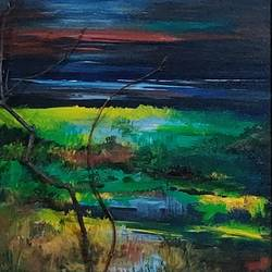 moonlight on the rupnarayan, 16 x 22 inch, sushmita banerjee,16x22inch,canvas board,paintings,landscape paintings,acrylic color,wood,GAL02461937039