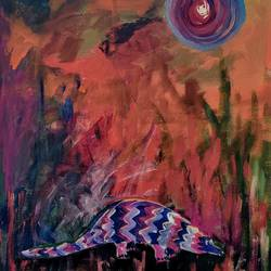 poor pangolin, 16 x 20 inch, sushmita banerjee,16x20inch,canvas,abstract paintings,acrylic color,GAL02461937040