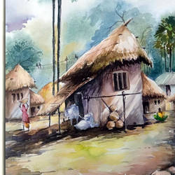village morning, 15 x 21 inch, jhalak mishra,15x21inch,rice paper,landscape paintings,paintings for living room,paintings for hotel,paintings for living room,paintings for hotel,watercolor,GAL02563037046