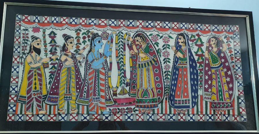 handmade mandhubani painting- sita ram vivah, 48 x 24 inch, archana sinha,48x24inch,cloth,paintings,folk art paintings,acrylic color,GAL02565537055