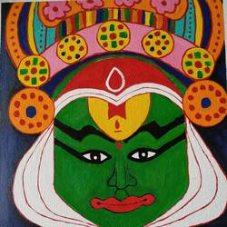 kathakali , 12 x 16 inch, arpita kabiraj,12x16inch,canvas,kerala murals painting,paintings for dining room,paintings for living room,paintings for bedroom,paintings for office,paintings for hotel,paintings for dining room,paintings for living room,paintings for bedroom,paintings for office,paintings for hotel,acrylic color,GAL02556837058