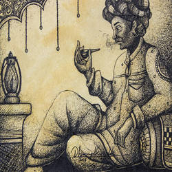 traditional man, 14 x 10 inch, gaurav jain,figurative drawings,paintings for living room,horizontal,handmade paper,ink color,14x10inch,GAL013673706