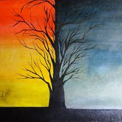 split seasons , 9 x 10 inch, varsha fulwani,9x10inch,canvas board,paintings,landscape paintings,nature paintings | scenery paintings,paintings for dining room,paintings for living room,paintings for office,paintings for kids room,paintings for hotel,paintings for school,paintings for hospital,acrylic color,enamel color,mixed media,poster color,GAL02294937061
