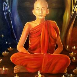 the meditating monk, 24 x 36 inch, sanjana sharma,24x36inch,canvas,buddha paintings,paintings for living room,paintings for bedroom,paintings for office,paintings for hotel,paintings for school,paintings for hospital,paintings for living room,paintings for bedroom,paintings for office,paintings for hotel,paintings for school,paintings for hospital,oil color,GAL02405737066