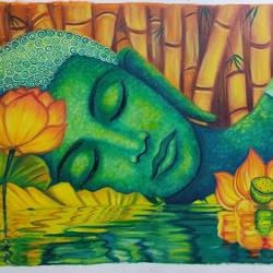 buddha enchanting, 34 x 19 inch, shalini rawat,34x19inch,canvas,paintings,buddha paintings,paintings for living room,paintings for bedroom,paintings for office,paintings for hotel,oil color,GAL02566937073